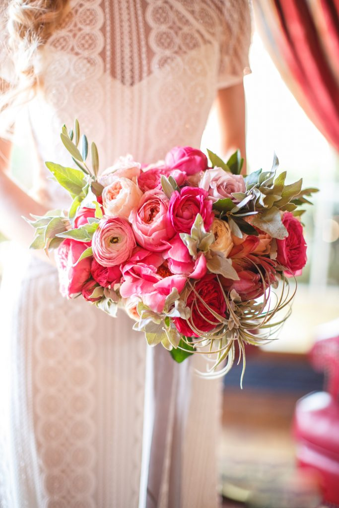 Pink and air plant bouquet. Arizona Inn Wedding by Meagan Crain of Crain and Co Events.
