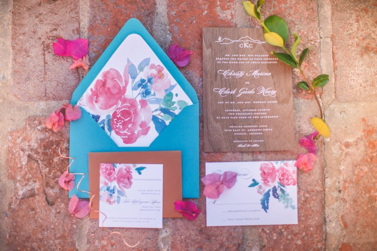 Arizona Inn Wedding by Meagan Crain of Crain and Co Events. Tucosn Wedding Planner. Wood wedding invitation.