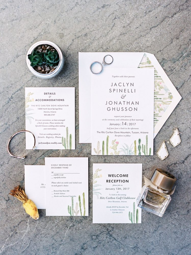 Ritz Carlton Dove Mountain Wedding. Tucson Arizona wedding planner Crain and Co Events. Desert cactus wedding invitation.