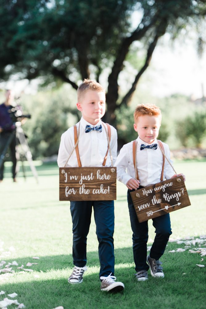 Ring bearers in vans, suspenders an bowties. Wedding planning by Crain and Co Events.
