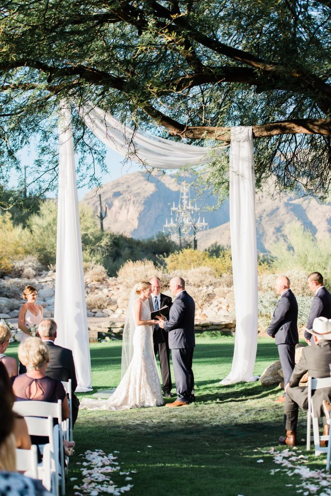 Tree and chandelier wedding ceremony. Westin La Paloma Wedding by Tucson, Arizona wedding planner Meagan Crain of Crain and Co Events