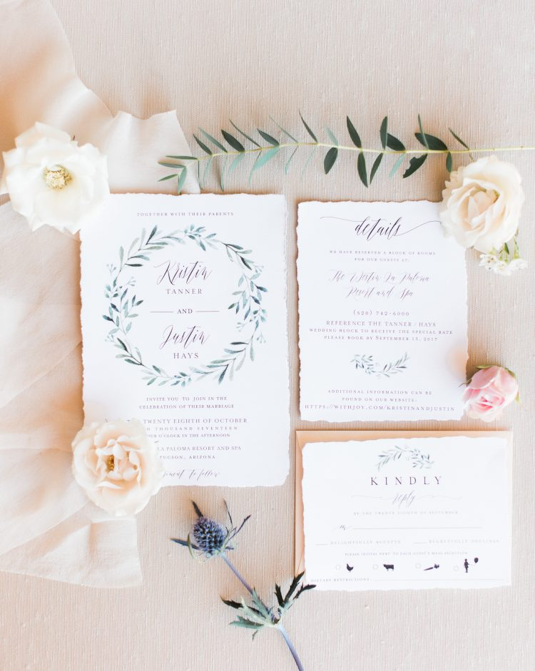 Torn edge wedding invitations by Brie Dumais Designs. Wedding planning by Crain and Co Events.